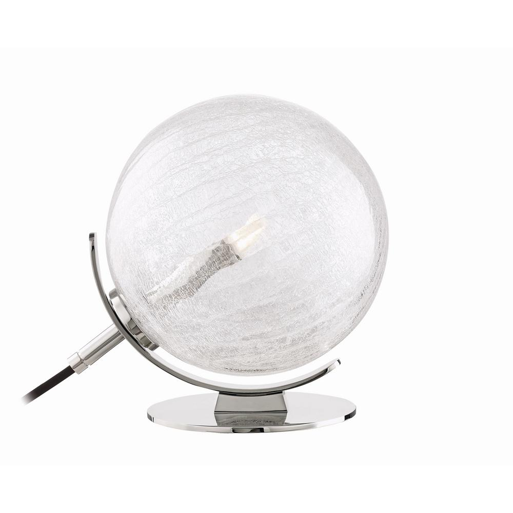 Lena 10.25 in. Polished Nickel LED Table Lamp with Clear Crackel