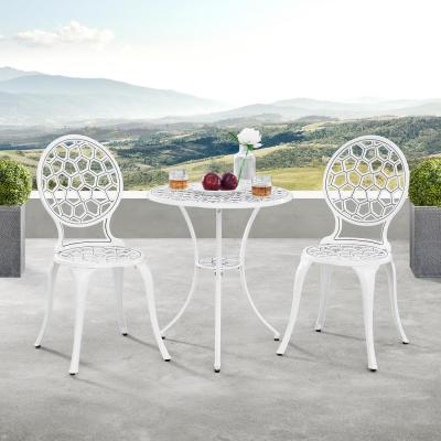 Modern Contemporary White 3-Piece Aluminum Outdoor Patio Garden Bistro Set