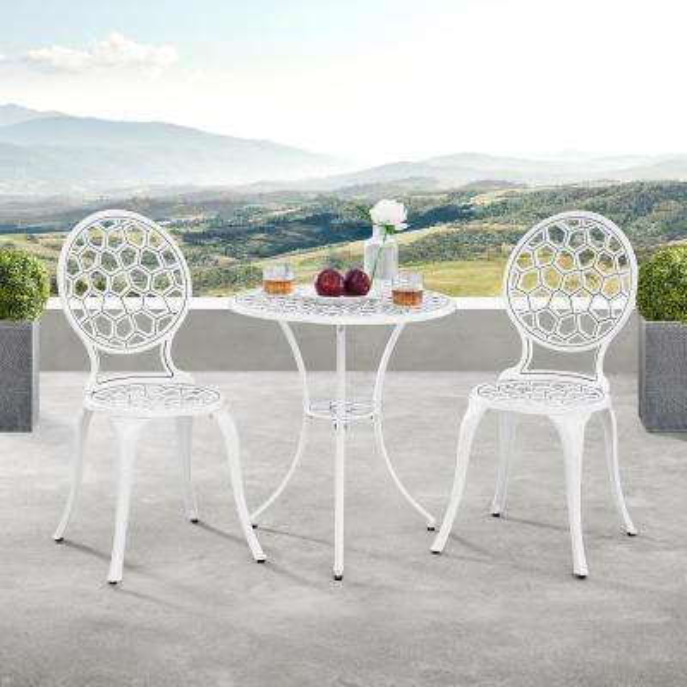 Modern Contemporary White 3-Piece Aluminum Outdoor Patio Garden Bistro Set