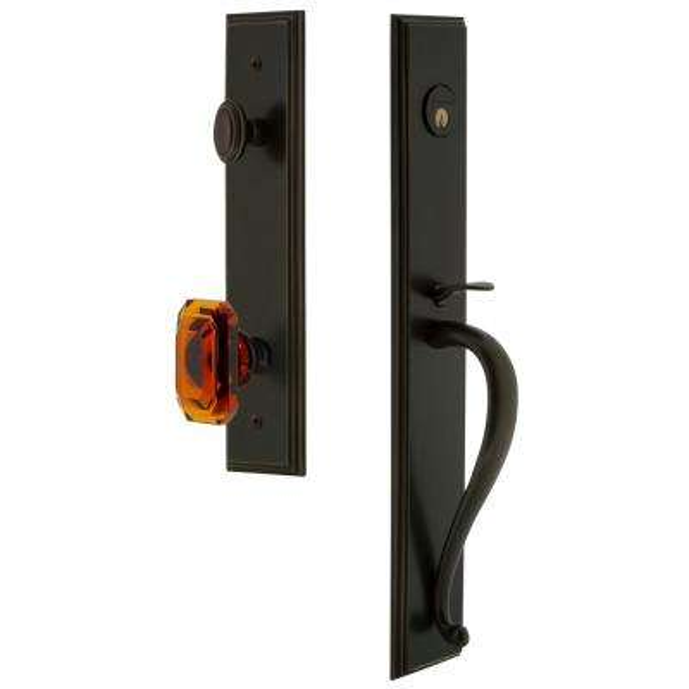 Carre Timeless Bronze 1-Piece Dummy Door Handleset with S-Grip and Baguette Amber Knob
