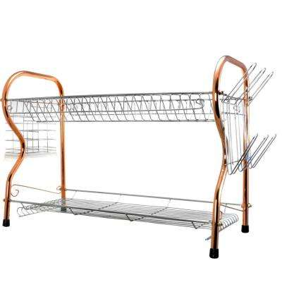 22 in. Chrome Plated 2-Tier Dish Rack in Copper