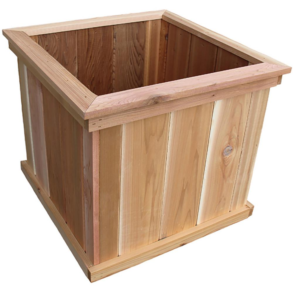 Unbranded 23 In Cascades Square Cedar Wood Planter N023 The Home Depot