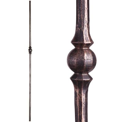 Tuscan Round Hammered 44 in. x 0.5625 in. Oil Rubbed Bronze Single Sphere Solid Wrought Iron Baluster
