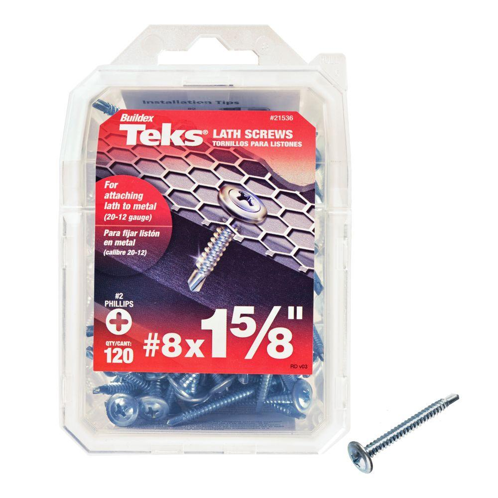 Teks #8 x 1-5/8 in. Phillips Zinc-Plated Steel Truss-Head Lath Screws (120-Pack)