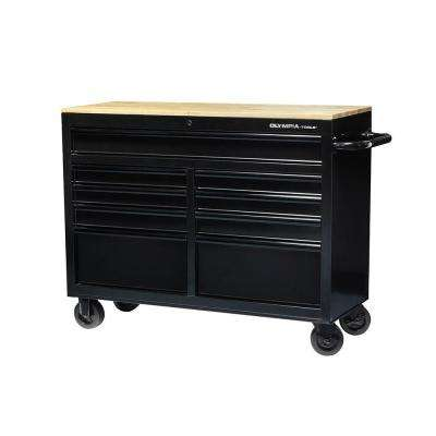 46 in. 9-Drawer Mobile Workbench with Solid Wood Top and 1,200 lbs. Capacity (100 lbs. per drawer)