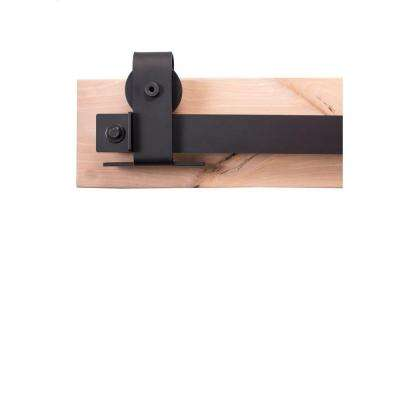 84 in. Flat Black Sliding Barn Door Hardware Kit with Top Mount Industrial Hangers and Pull