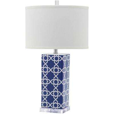 Quatrefoil 27 In. Navy Table Lamp With White Shade. Navy; Yellow; Light Blue