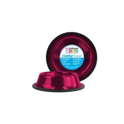 1.25 Cup Non-Tip Stainless Steel Dog/Cat Bowl, Raspberry Pop