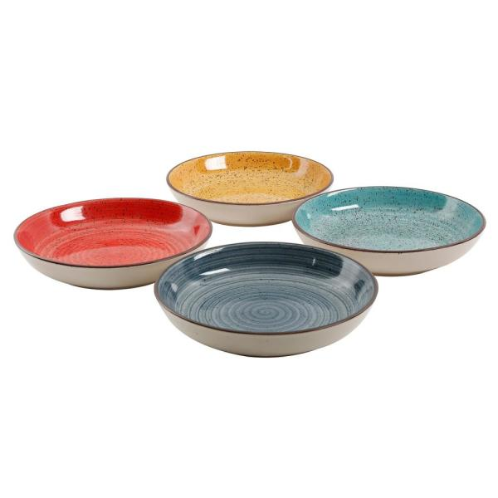 12.05 oz. Assorted Colors Stoneware Pasta Bowls (4-Piece)