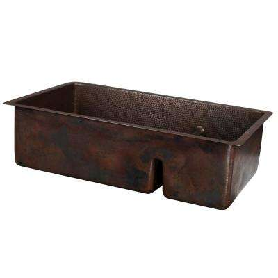Dual Mount Hammered Copper 33 in. Double Bowl 70/30 Kitchen Sink with Short Divide in Oil Rubbed Bronze
