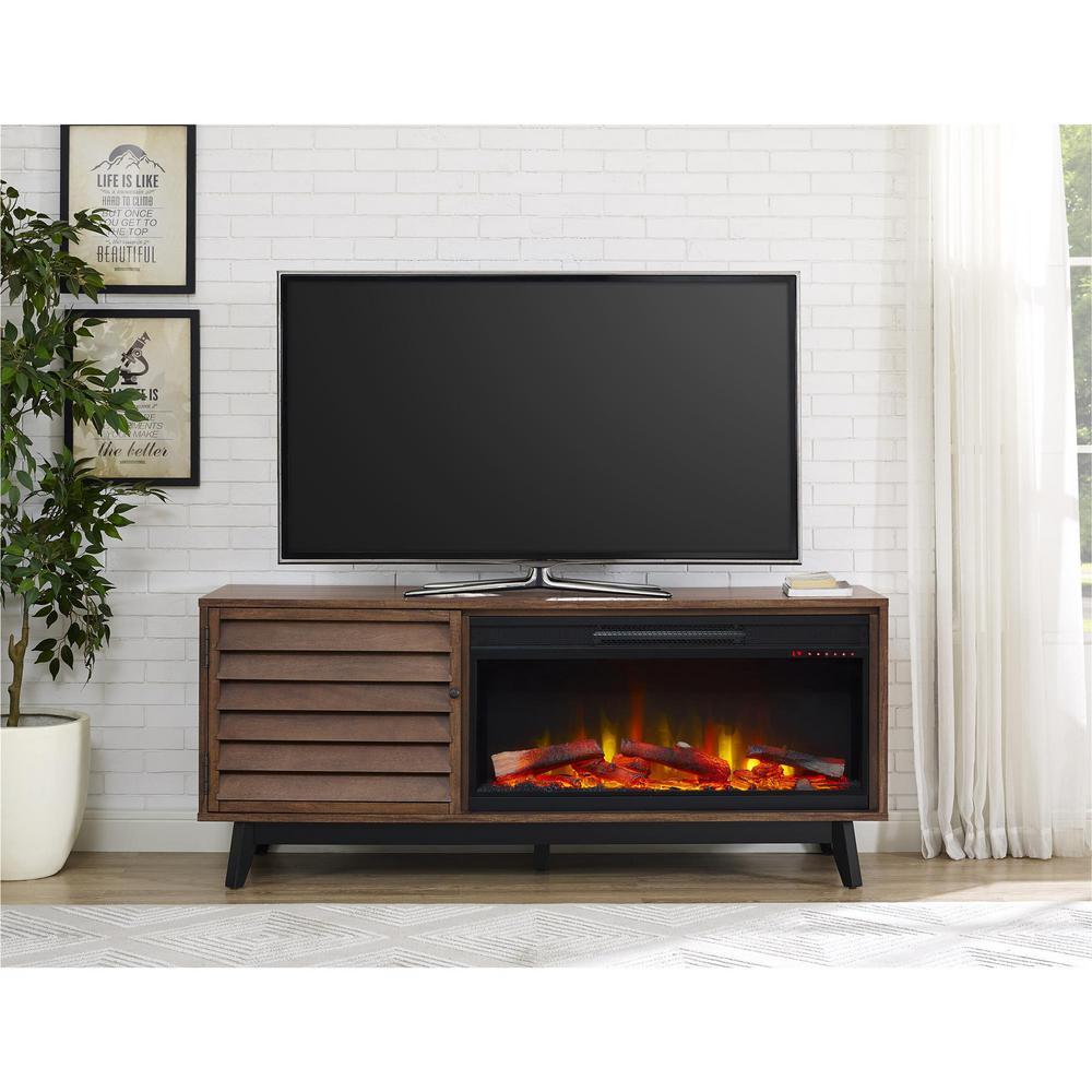 Vaughn Fireplace 60 in. TV Console in Brown Walnut