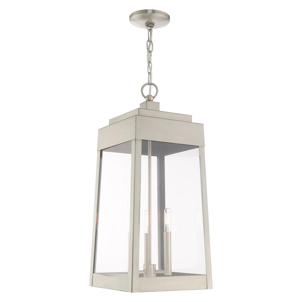 Livex Lighting Oslo Large 3 Light Brushed Nickel Outdoor Pendant Lantern