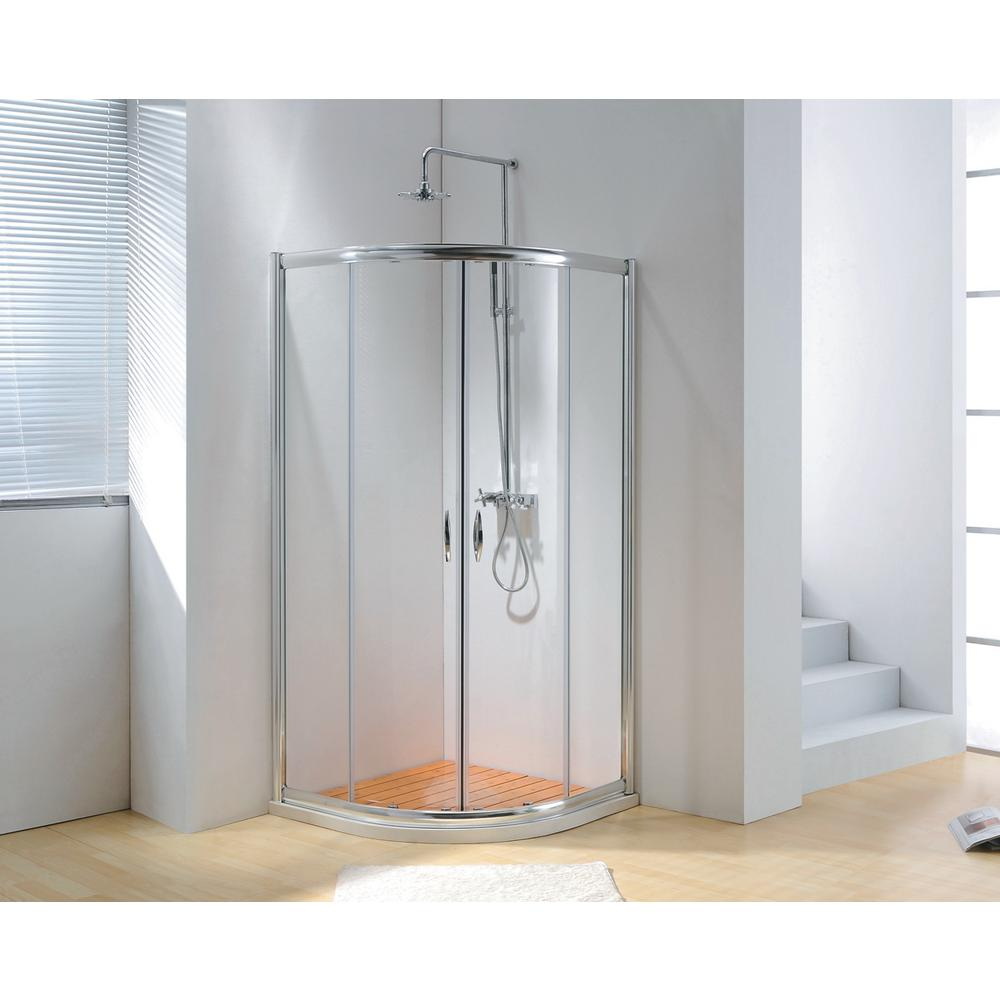 40 in. x 79 in. Framed Sliding Shower Enclosure Clear Glass