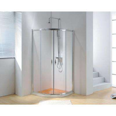 40 in. x 79 in. Framed Sliding Shower Enclosure Clear Glass in Chrome with Handles