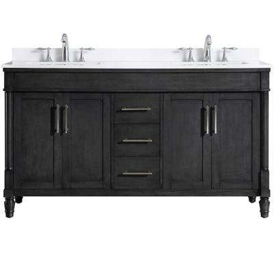 Layla 60 in. W x 22 in. D Vanity in Iron Grey with Marble Top Vanity with White Basin