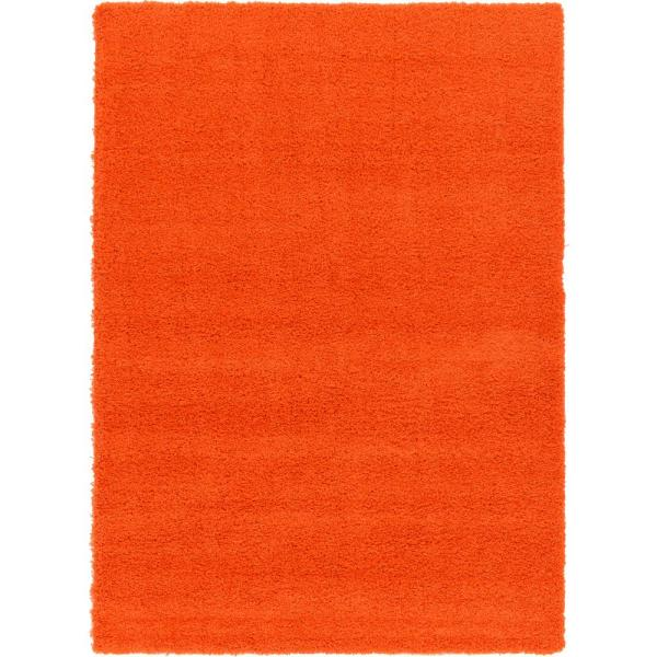 Solid Shag Tiger Orange 7 ft. x 10 ft. Area Rug
