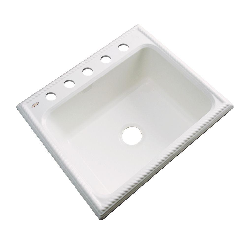 Thermocast Wentworth Drop-In Acrylic 25 in. 5-Hole Single Bowl Kitchen Sink in Biscuit