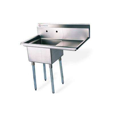 Freestanding Stainless Steel 26.5 in. x 19.5 in. x 43.75 in. 2-Hole Single Bowl Kitchen Sink with Silver Faucet