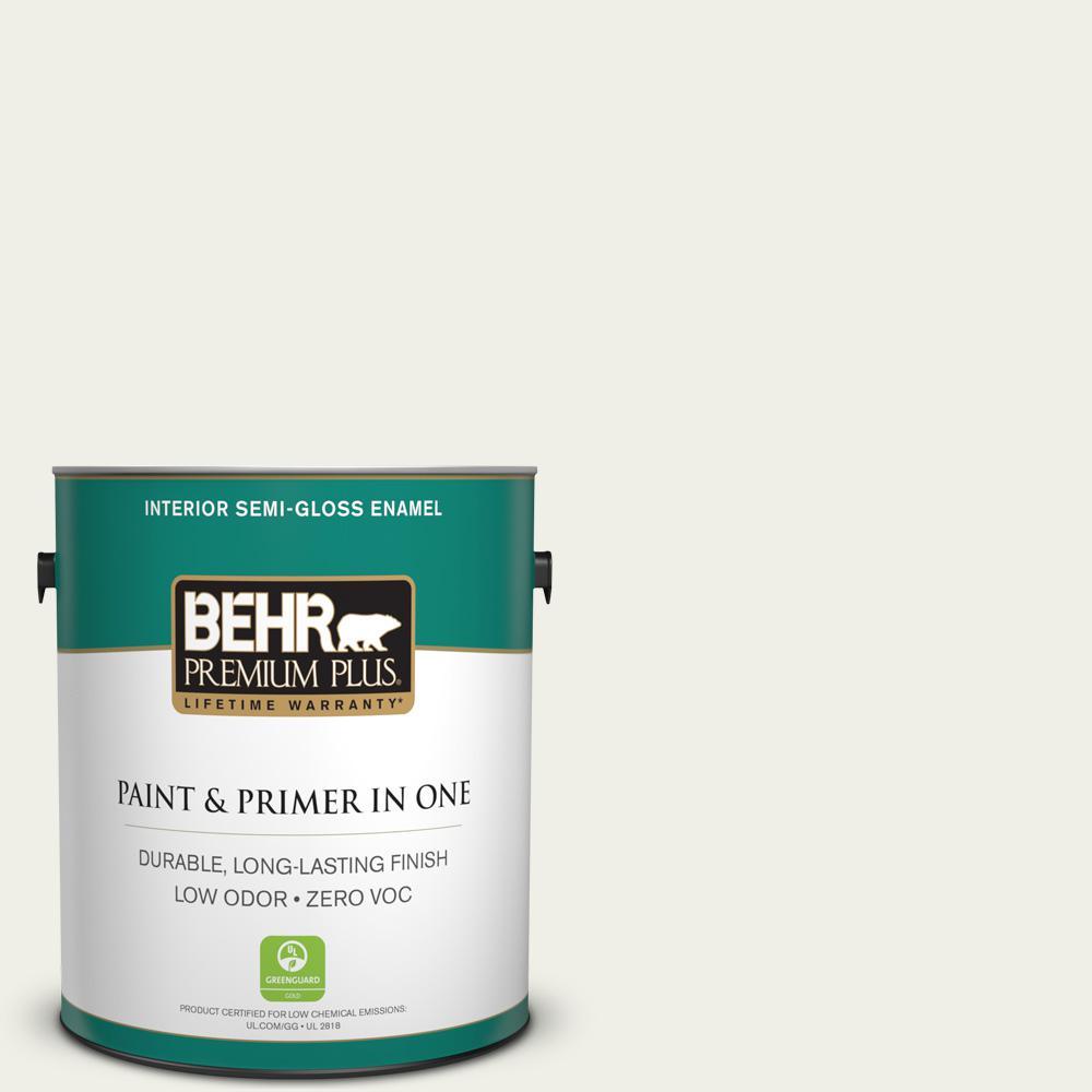 BEHR Premium Plus 1-gal. #ECC-63-2 Aspen Snow Zero VOC Semi-Gloss Enamel Interior Paint