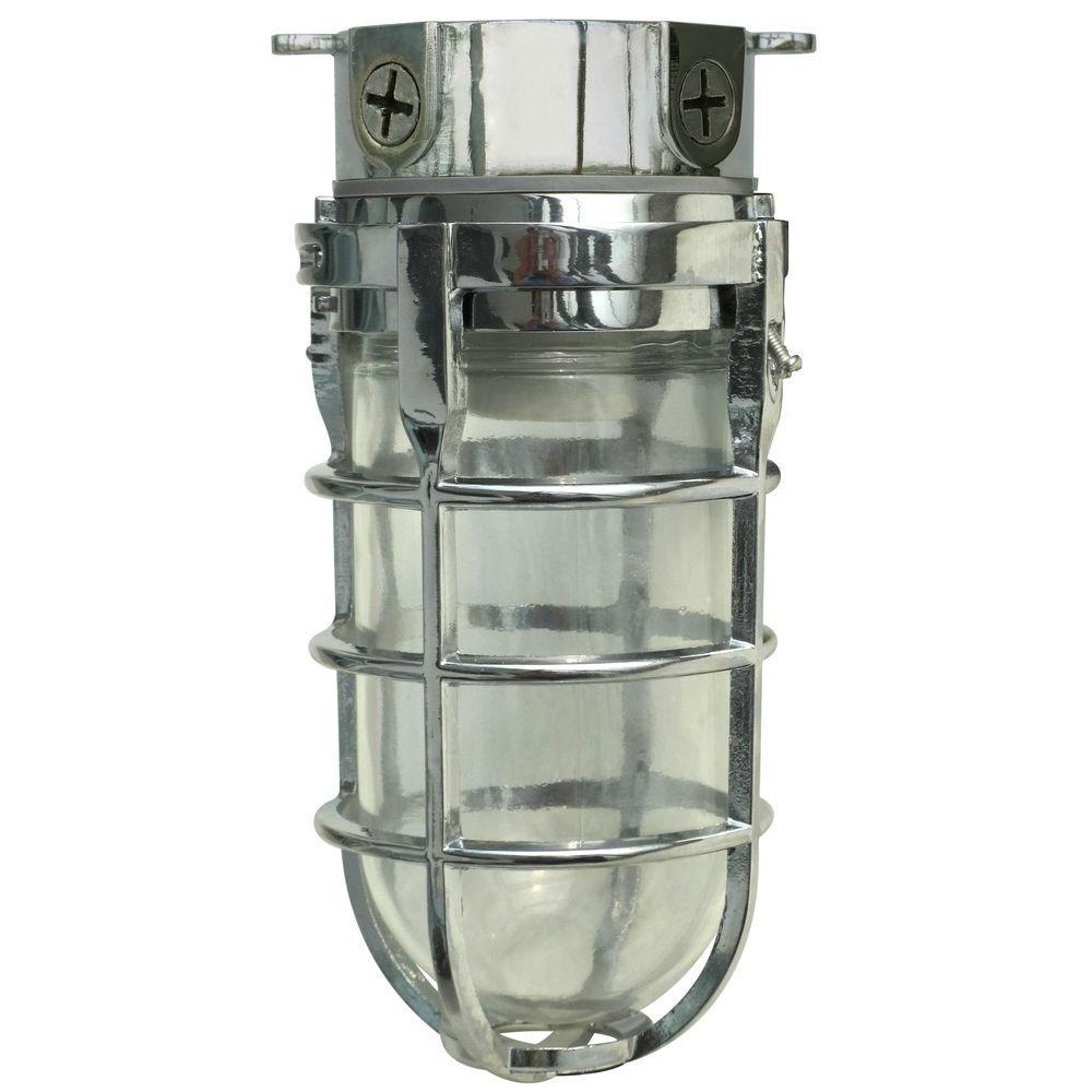 Industrial 1-Light Chrome Outdoor Weather Tight Flushmount Light Fixture