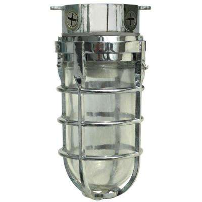 Industrial 1-Light Chrome Outdoor Weather Tight Flushmount Light Fixture