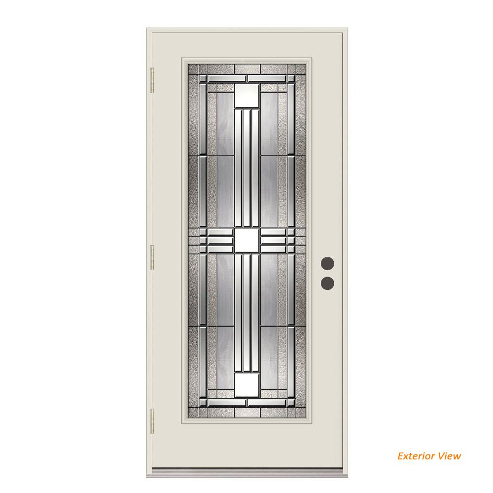 Jeld wen 36 in x 80 in full lite cordova primed impact rated steel prehung right hand outswing 36 x 80 outswing exterior door