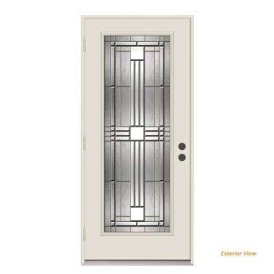 36 in. x 80 in. Full Lite Cordova Primed Impact Rated Steel Prehung Right-Hand Outswing Front Door