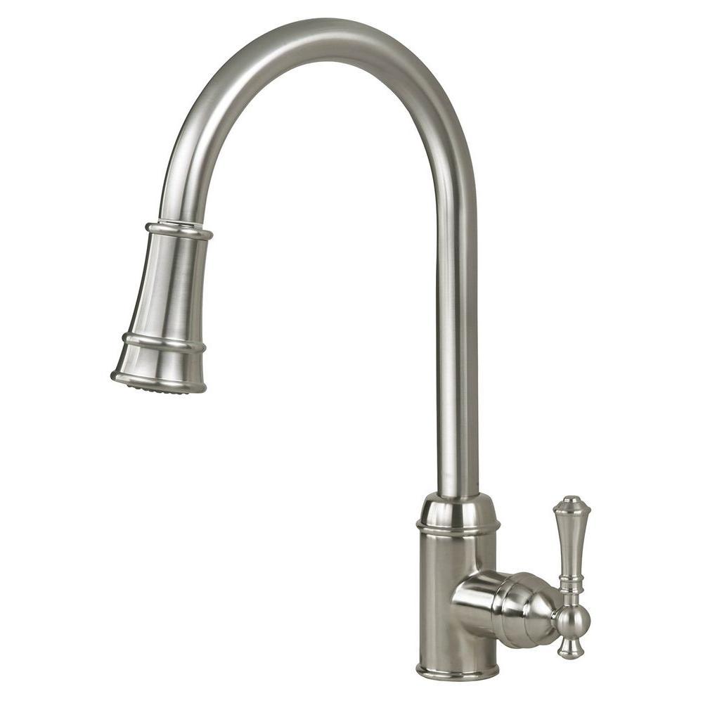 Artisan Premium Single-Handle Pull-Out Sprayer Kitchen Faucet in Satin Nickel