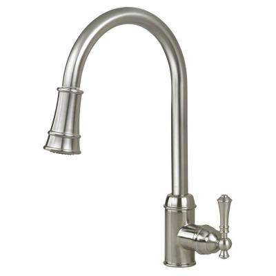 Premium Single-Handle Pull-Out Sprayer Kitchen Faucet in Satin Nickel