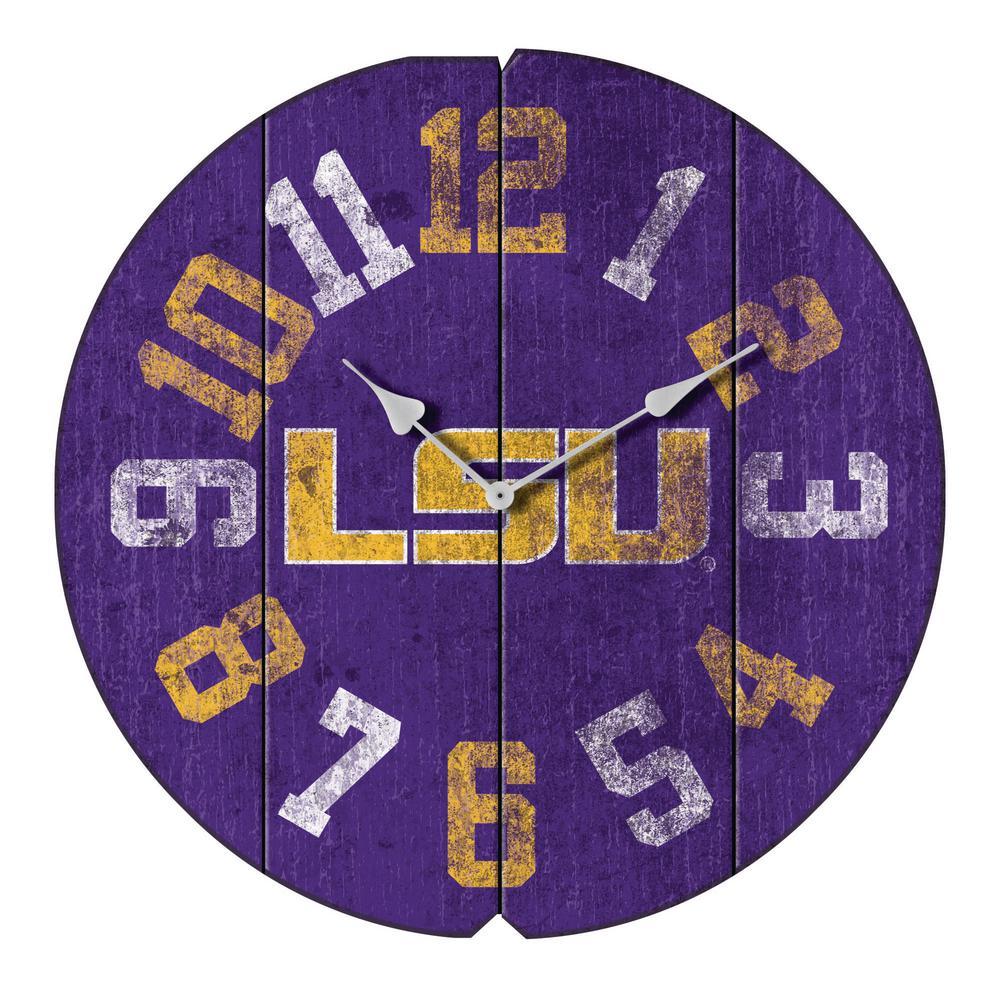 Louisiana State University Vintage Round Clock