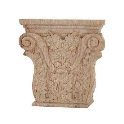 5-3/8 in. x 5-1/4 in. x 1-1/8 in. Unfinished Hand Carved American Red Oak Acanthus Wood Onlay Capital Wood Applique