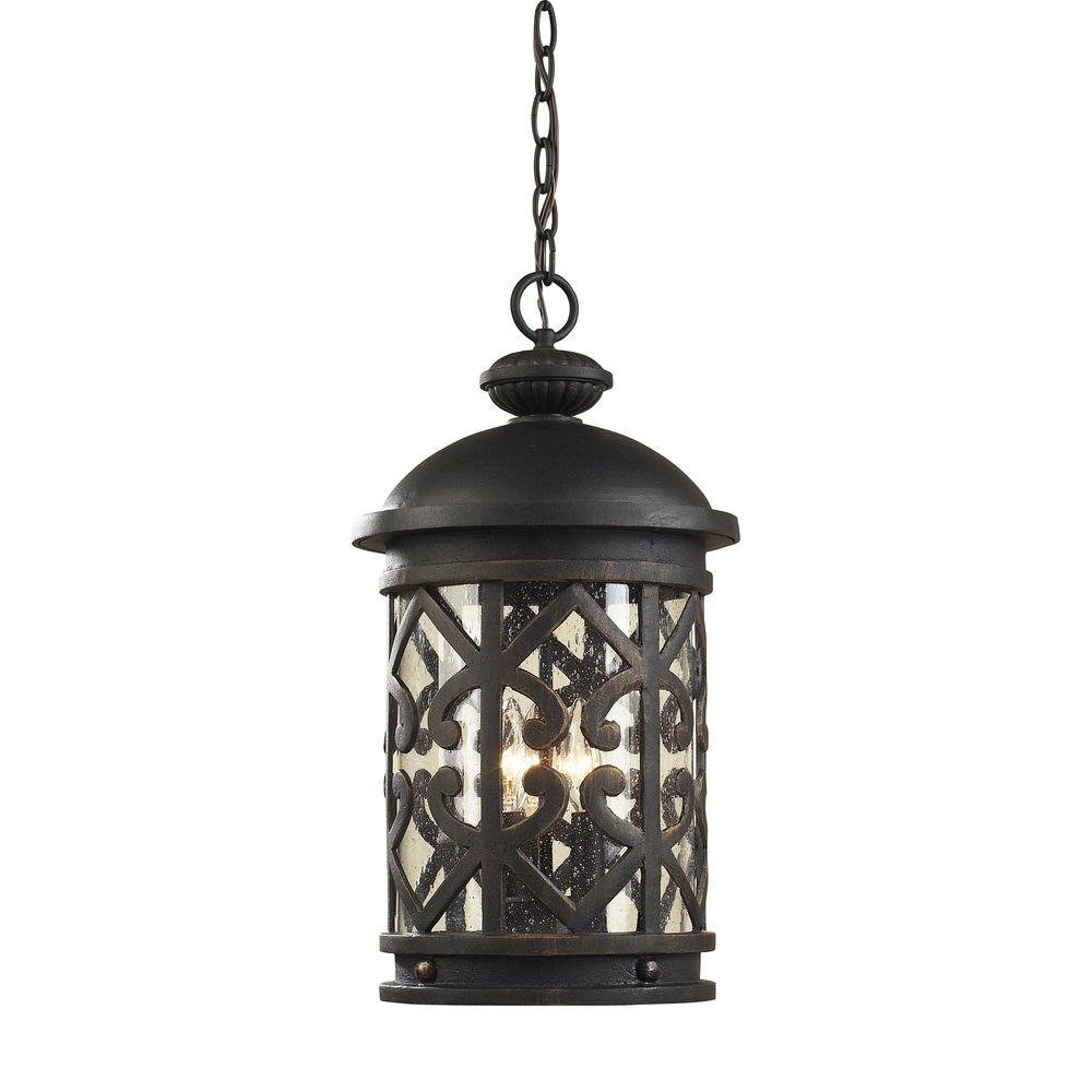 Titan Lighting Tuscany Coast 3 Light Weathered Charcoal Outdoor Hanging  Pendant