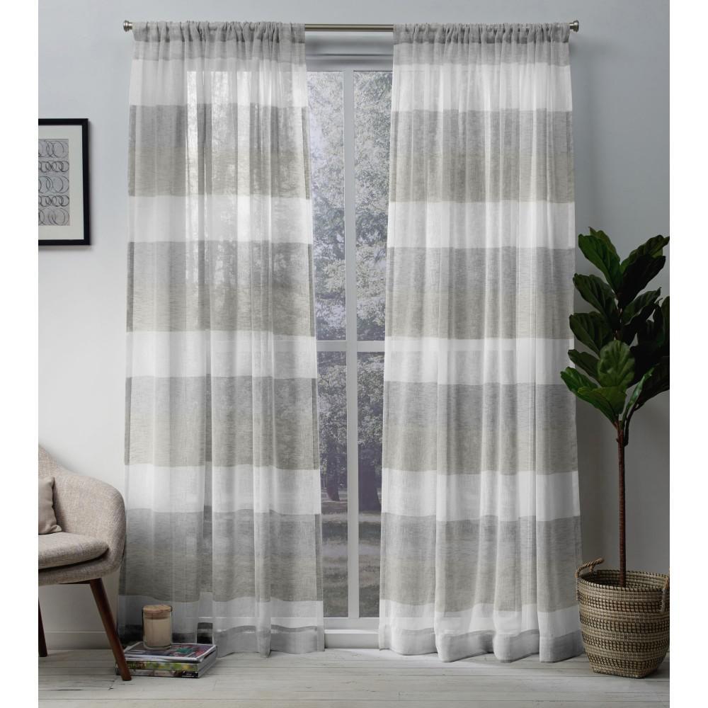 Bern 50 in. W x 96 in. L Sheer Rod Pocket Top Curtain Panel in Dove Gray (2 Panels)