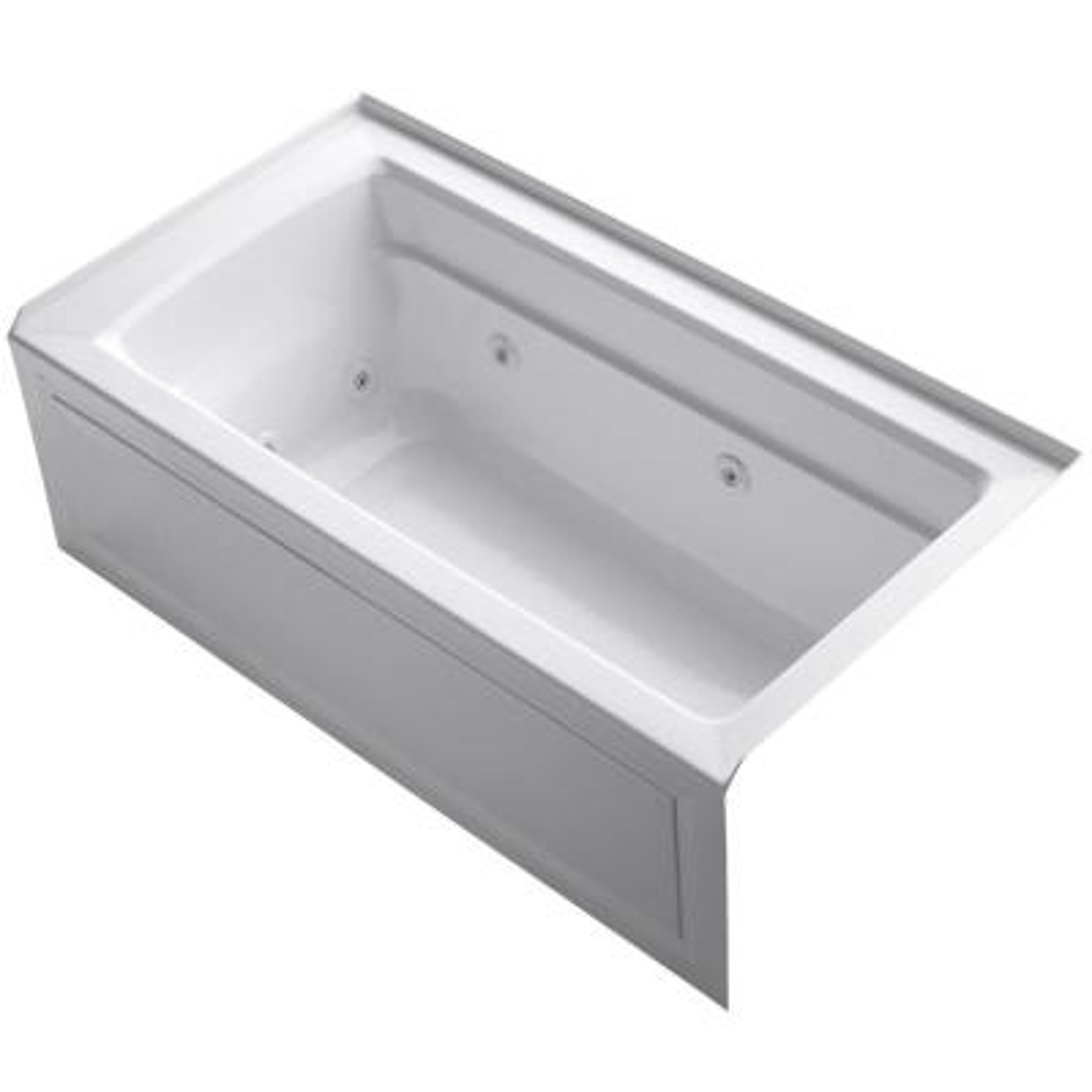 Archer 5 ft. Right-Drain Rectangular Alcove Whirlpool Bathtub in White
