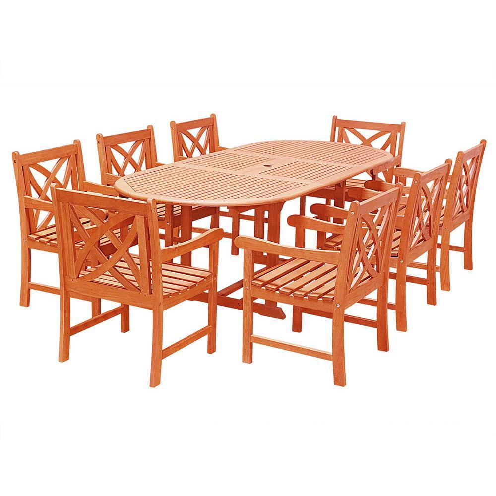Vifah Malibu 9-Piece Wood Outdoor Dining Set with Extenti...