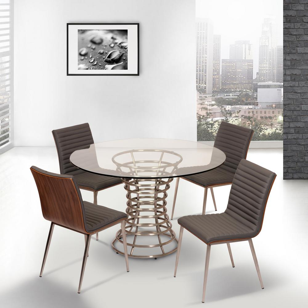 Cafe 34 in. Gray Faux Leather and Brushed Stainless Steel Dining