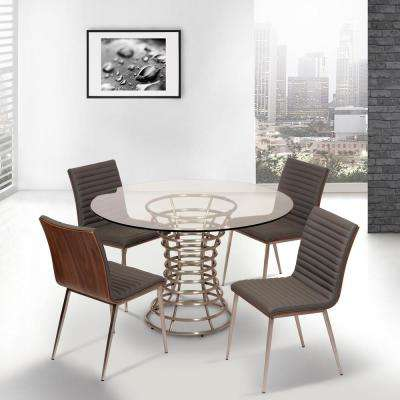Cafe 34 in. Gray Faux Leather and Brushed Stainless Steel Dining Chair (Set of 2)