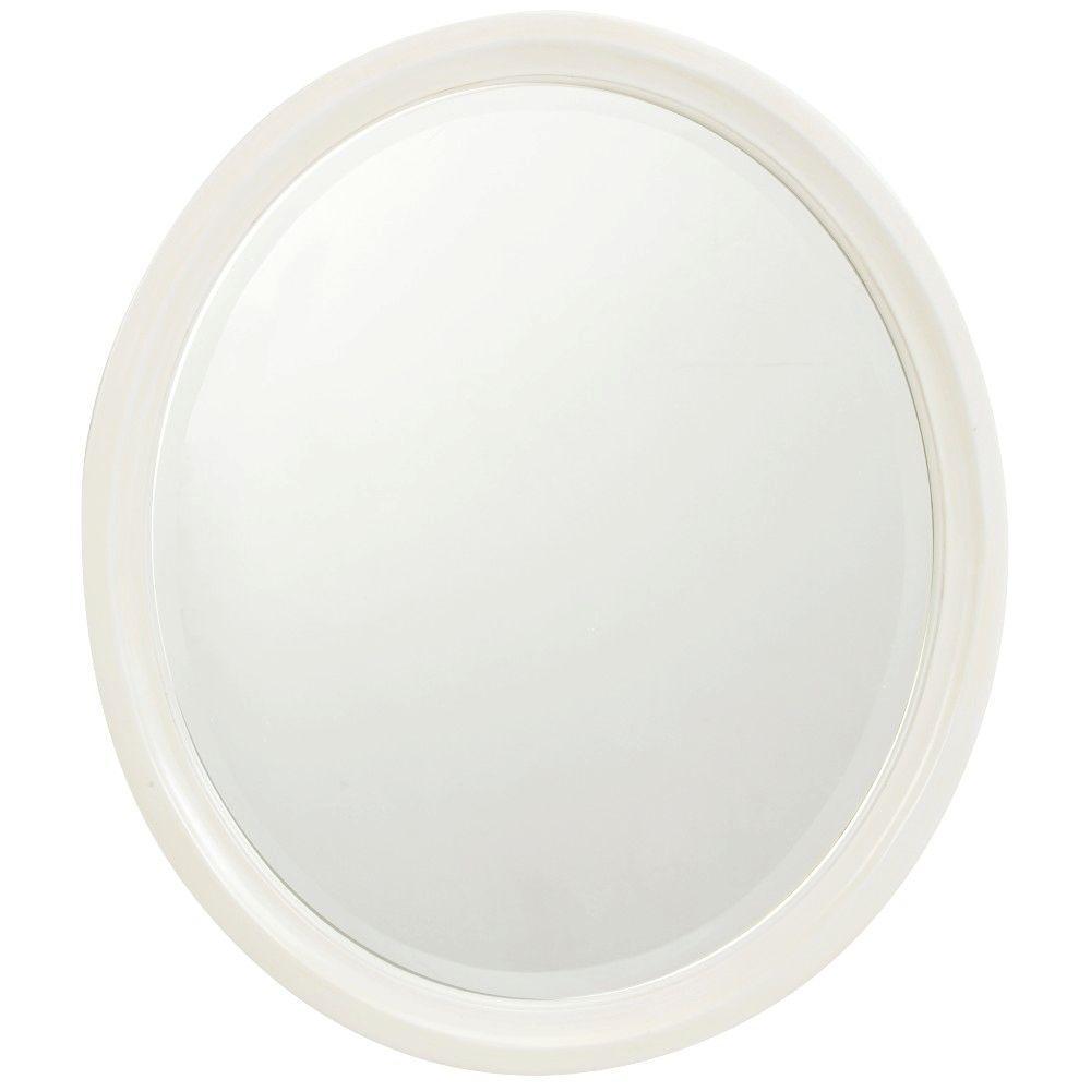 Newport 32 in. L x 28 in. W Framed Wall Mirror in Ivory