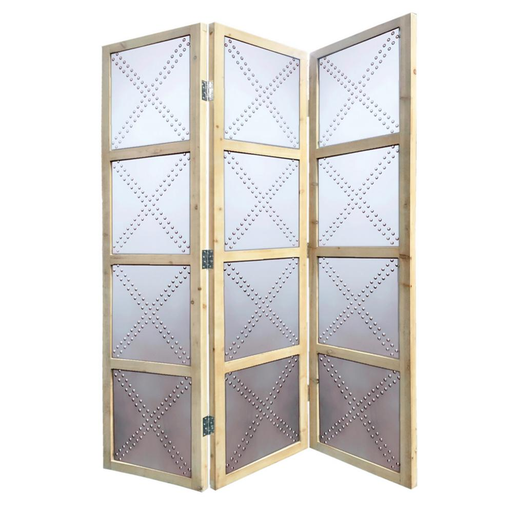 Screen Gems Braxton 7 ft Silver 3 Panel Room Divider SG 275 The
