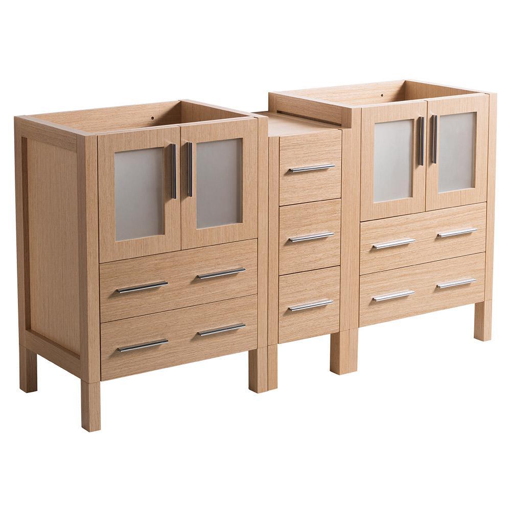 60 in. Torino Modern Double Bathroom Vanity Cabinet in Light Oak