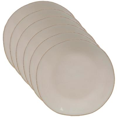 Harmony 6-Piece Traditional Cream Ceramic 9 in. Salad Plate Set (Service for 6)