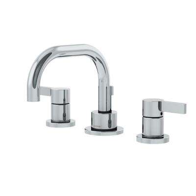 Dia 8 in. Widespread 2-Handle Low-Arc Bathroom Faucet with Blade Handles in Chrome