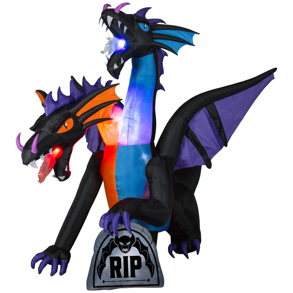 Home Accents Holiday 7.81 ft. Pre-Lit Inflatable Fire and Ice 2-Headed Dragon with Flaming Mouth (BBG/RRPm) Airblown