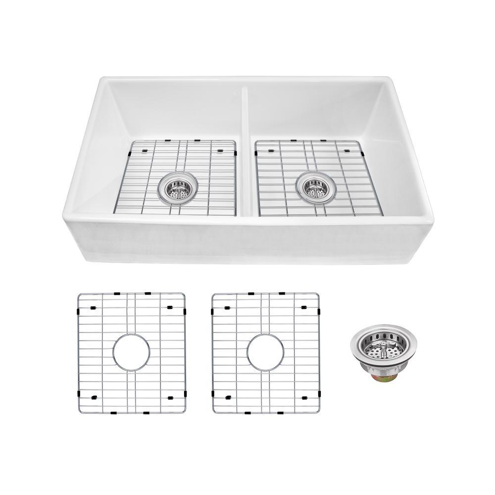 IPT Sink Company Farmhouse Apron Front Fireclay 33 in. 50/50 Double Bowl Kitchen Sink in White with Grids and Strainers was $649.0 now $449.0 (31.0% off)
