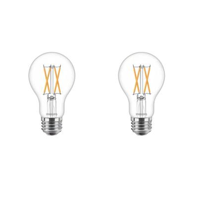 60-Watt Equivalent A19 Dimmable with Warm Glow Dimming Effect Clear Glass LED Light Bulb Soft White (2700K) (2-Pack)