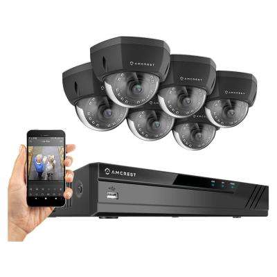 Plug & Play H.265 16-Channel 4K NVR 8MP Surveillance System, 6 Wired POE Dome Cameras with 98 ft. Night Vision, Black