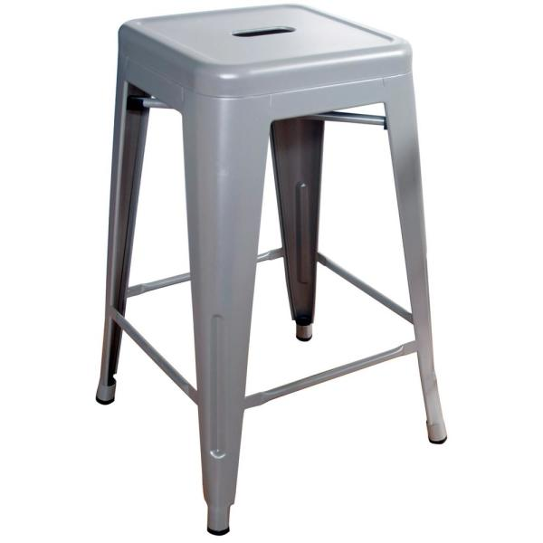 Loft Style 24 in. Stackable Metal Silver Bar Stool