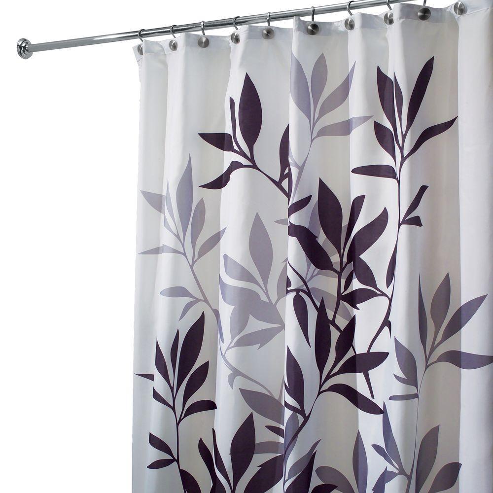 black and gray shower curtain. InterDesign Leaves Shower Curtain In Black And Gray 35620  The Home Depot