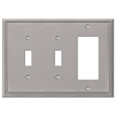 Rhodes 3 Gang 2-Toggle and 1-Rocker Metal Wall Plate - Brushed Nickel