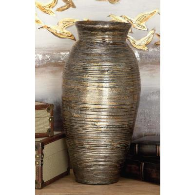 20 in. Lacquered Bamboo Decorative Vase